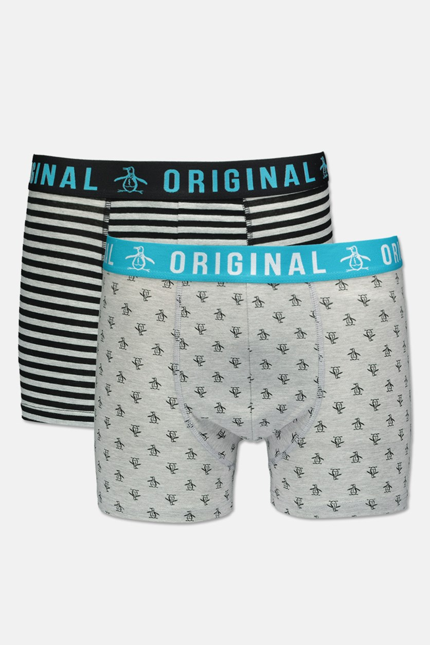 Men's 2 Pack Printed Trunks, Gray/Black