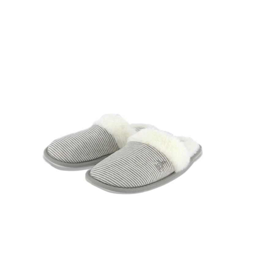 Women's Stripe Fur Slipper, Grey/White