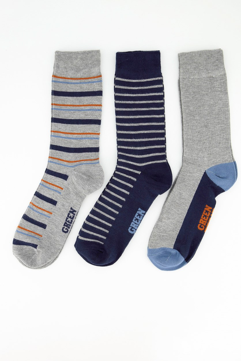 Men's 3 Packs Of Socks, Grey/Orange/LightBlue/NavyBlue