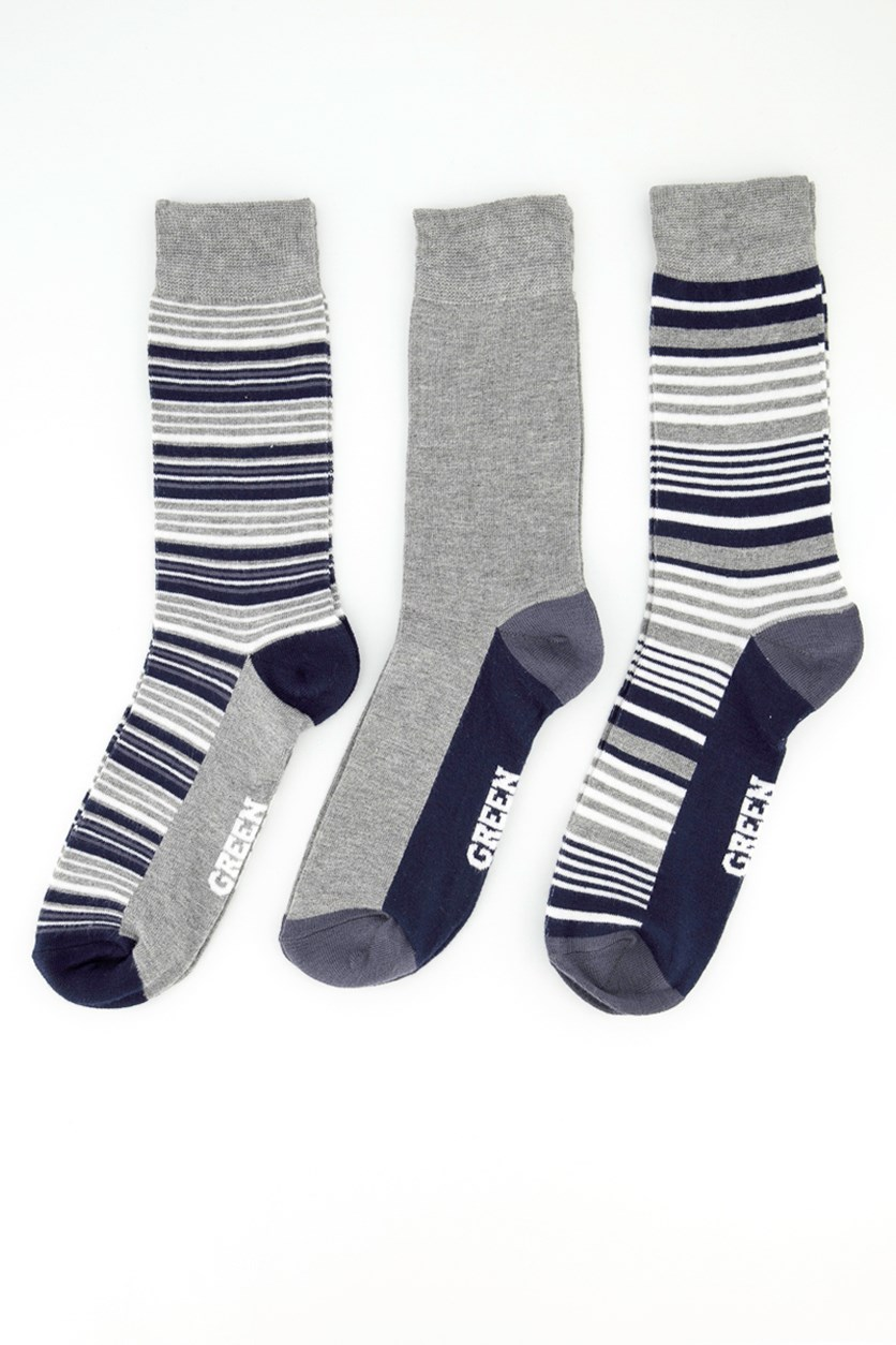Men's 3 Packs Of Stripes Socks, Grey/Navy Blue/White