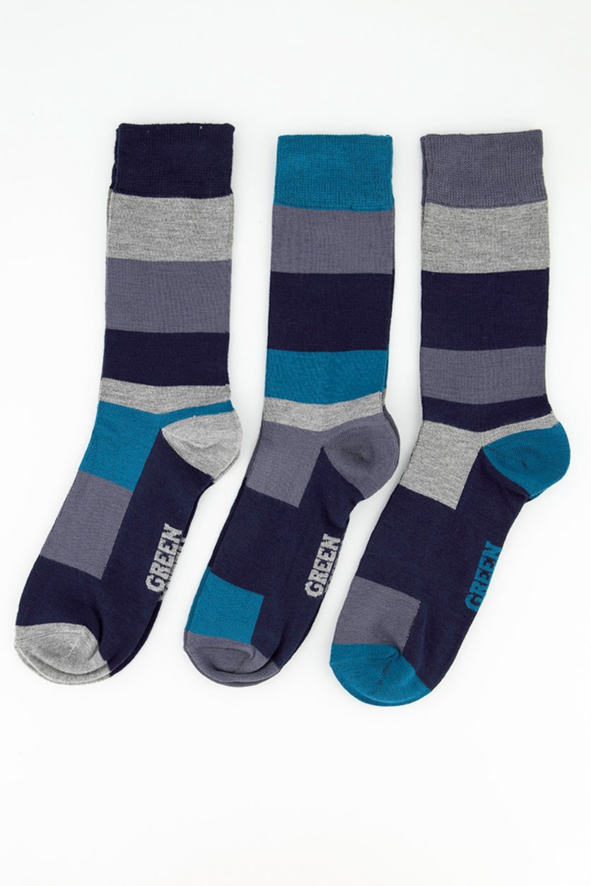 Men's Supersoft 3 Packs Of Stripes Sock, Grey/NavyBlue/Green