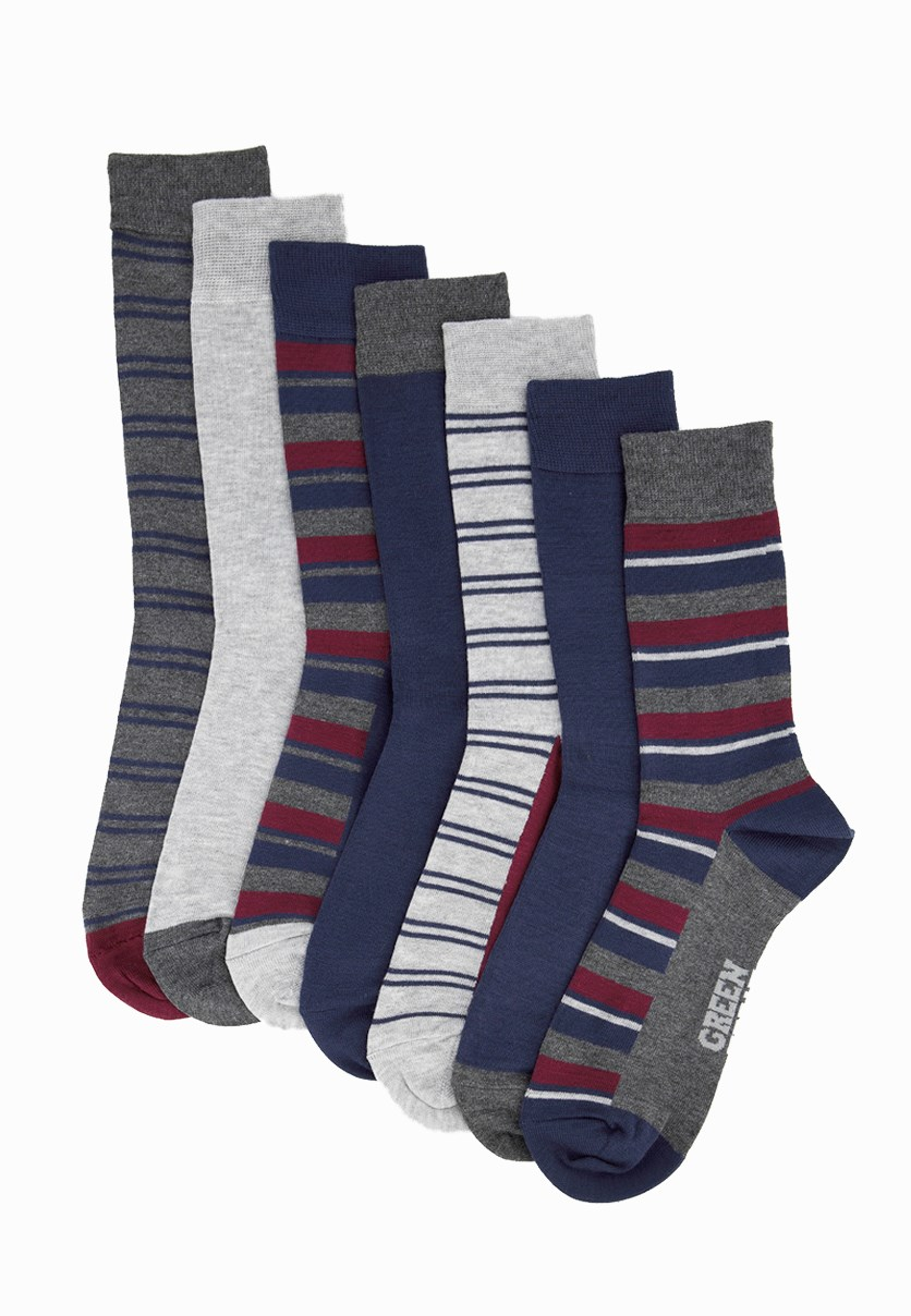 Men's 7 Packs Of Socks, Navy Blue/Maroon/Grey