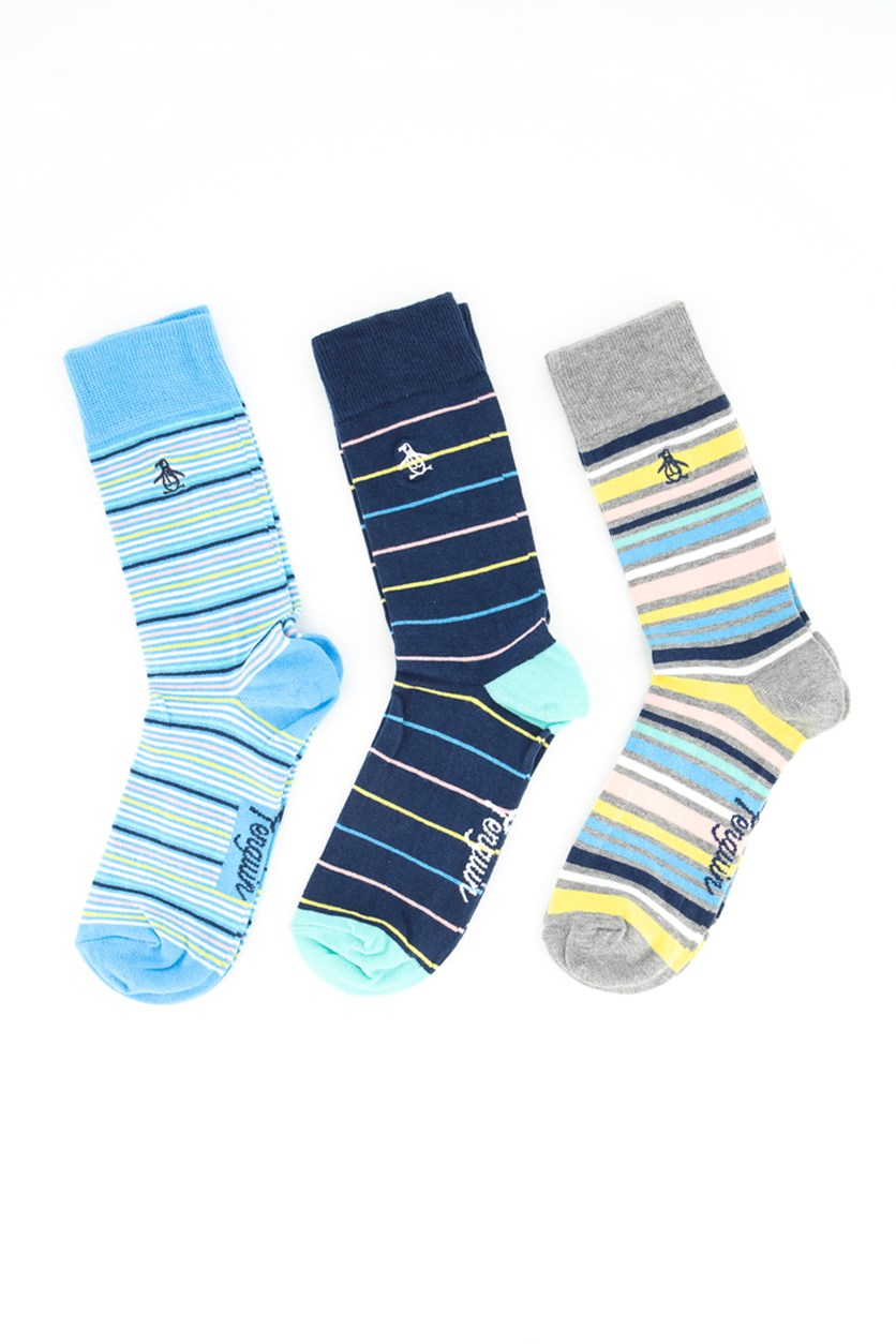 Mens 3pk Stripe Socks, Blue/Teal/ Grey