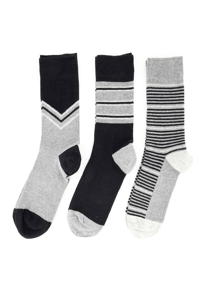 Mens 3pk Stripe Socks, Grey Combo