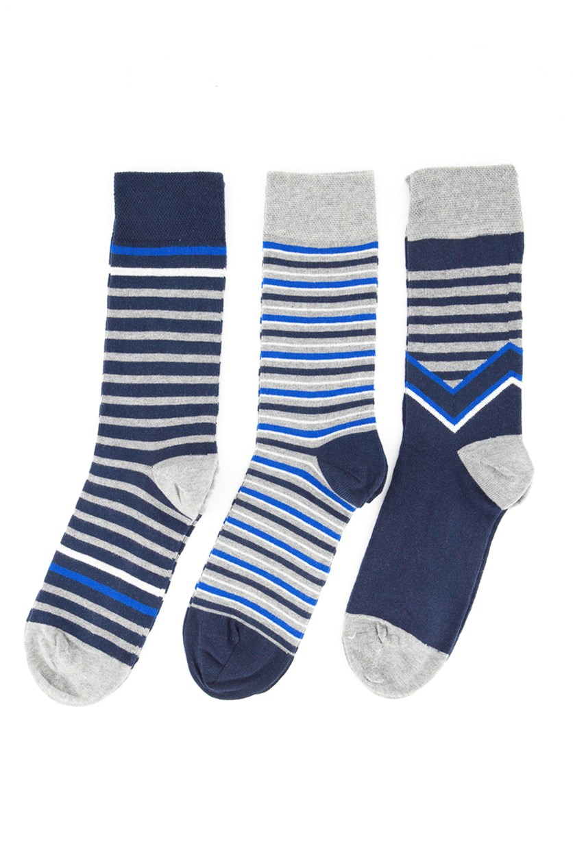 Mens 3pk Stripe Sock, Navy Blue/Grey