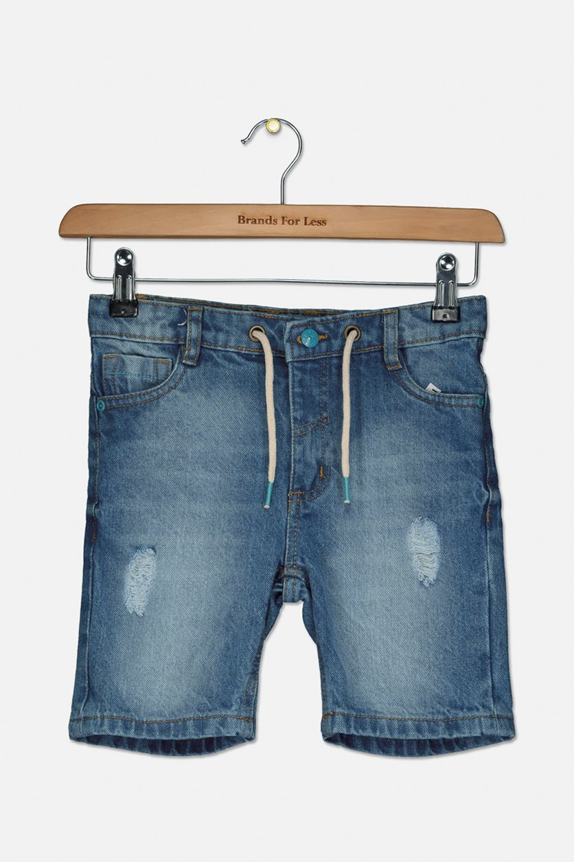 Girl's Ripped Short, Denim Blue