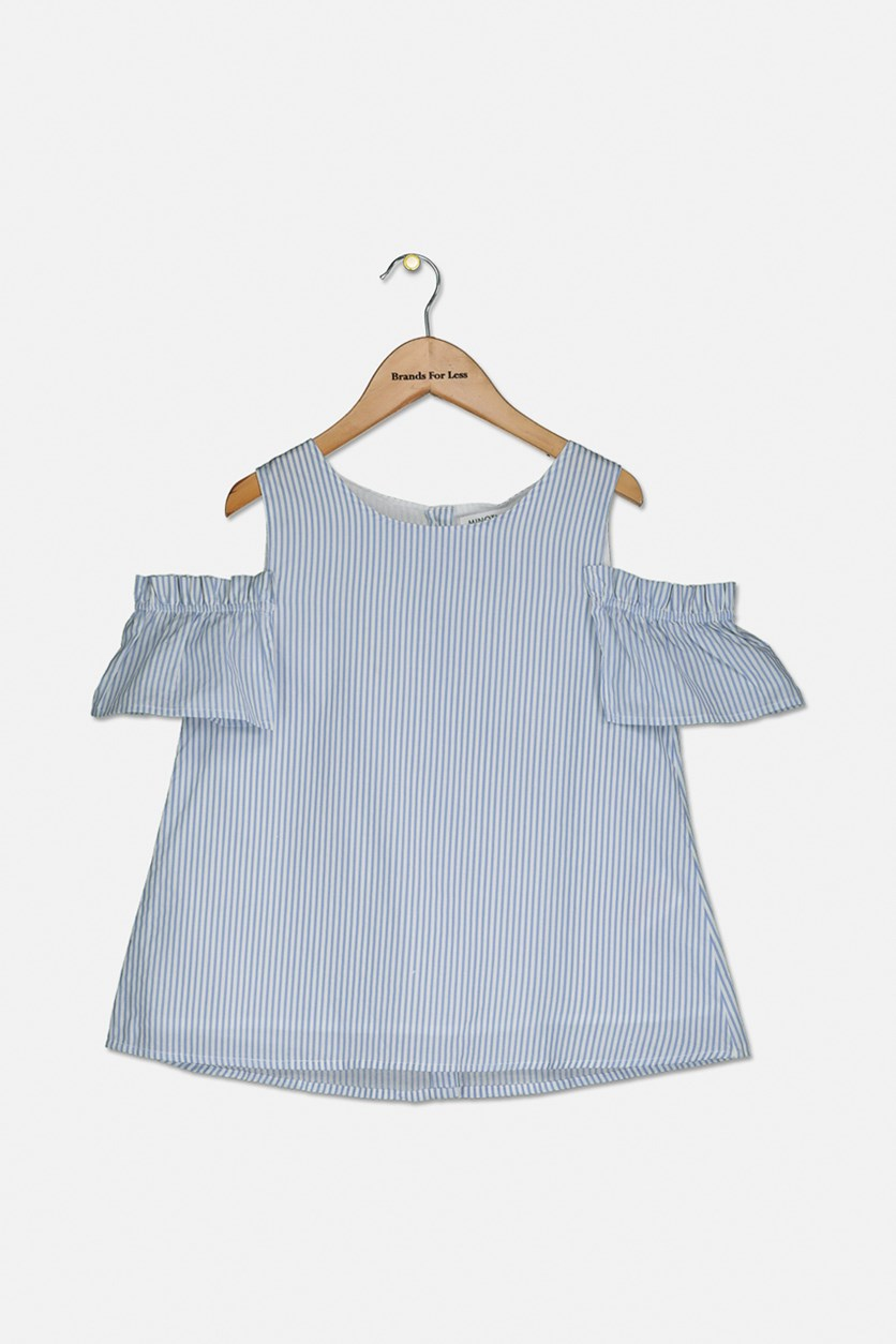 Girl's Stripe Top, Blue/White