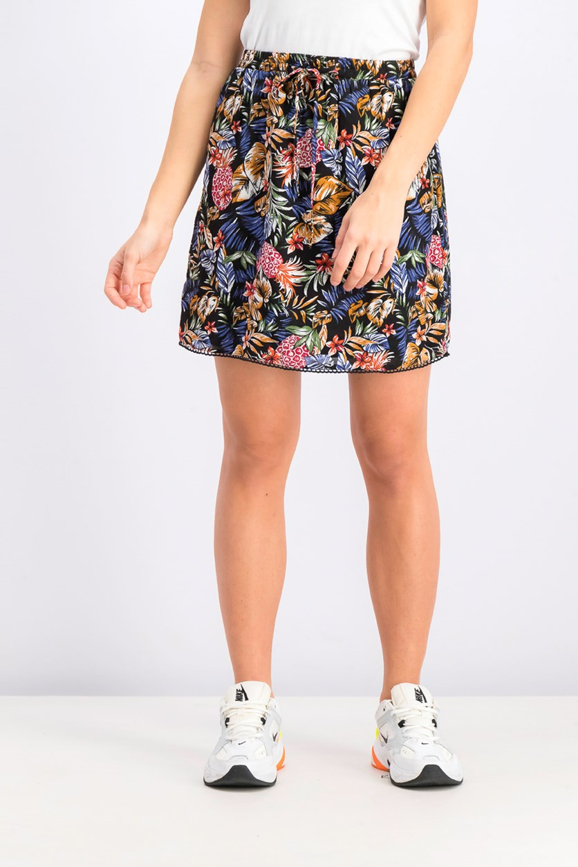 Women's Floral Print Skirt, Black Combo