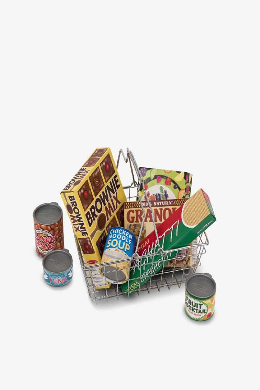 Lets Play House Grocery Basket, Silver/Blue/Red/Yellow