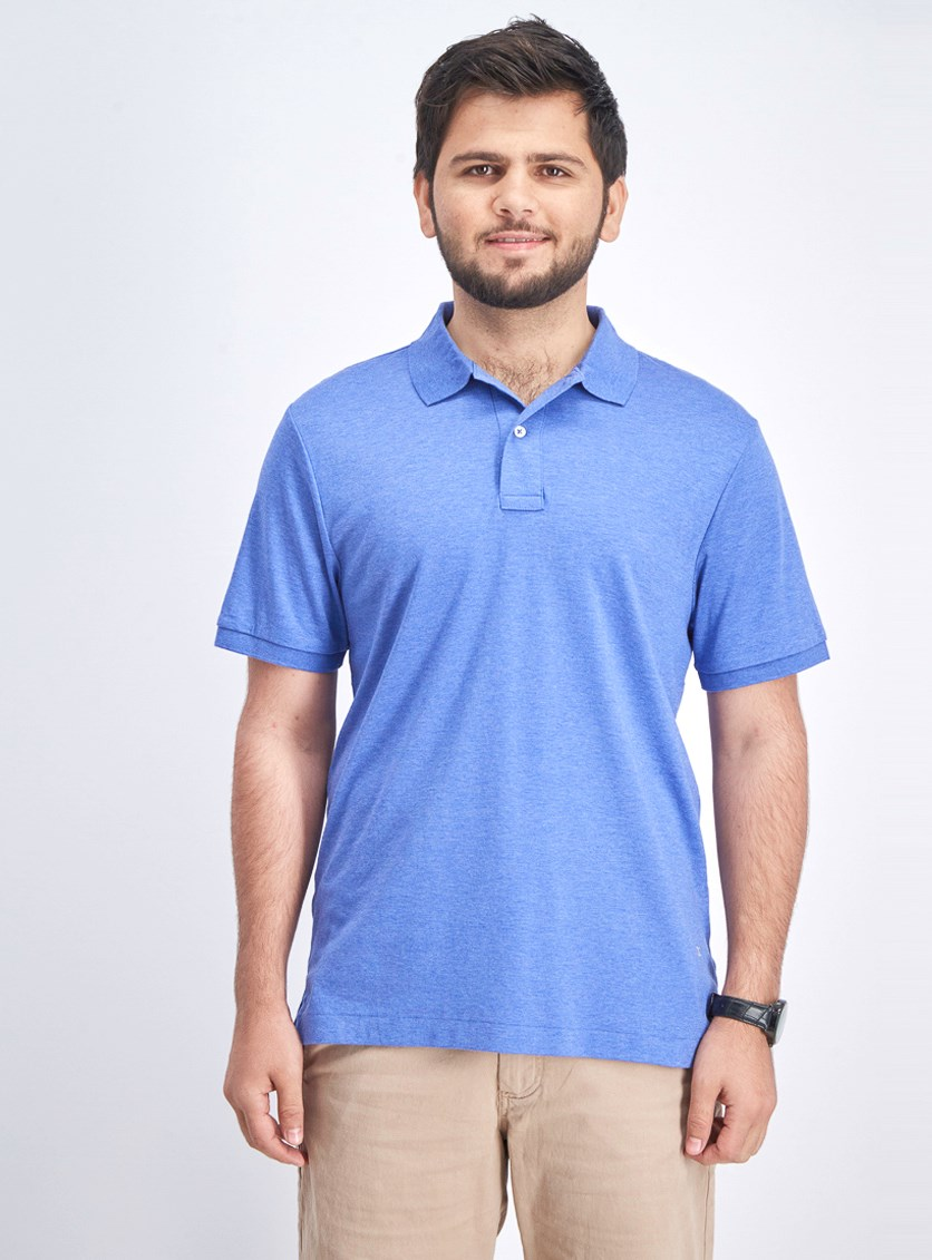 Men's Shortsleeve Polo Shirt, Heather Blue