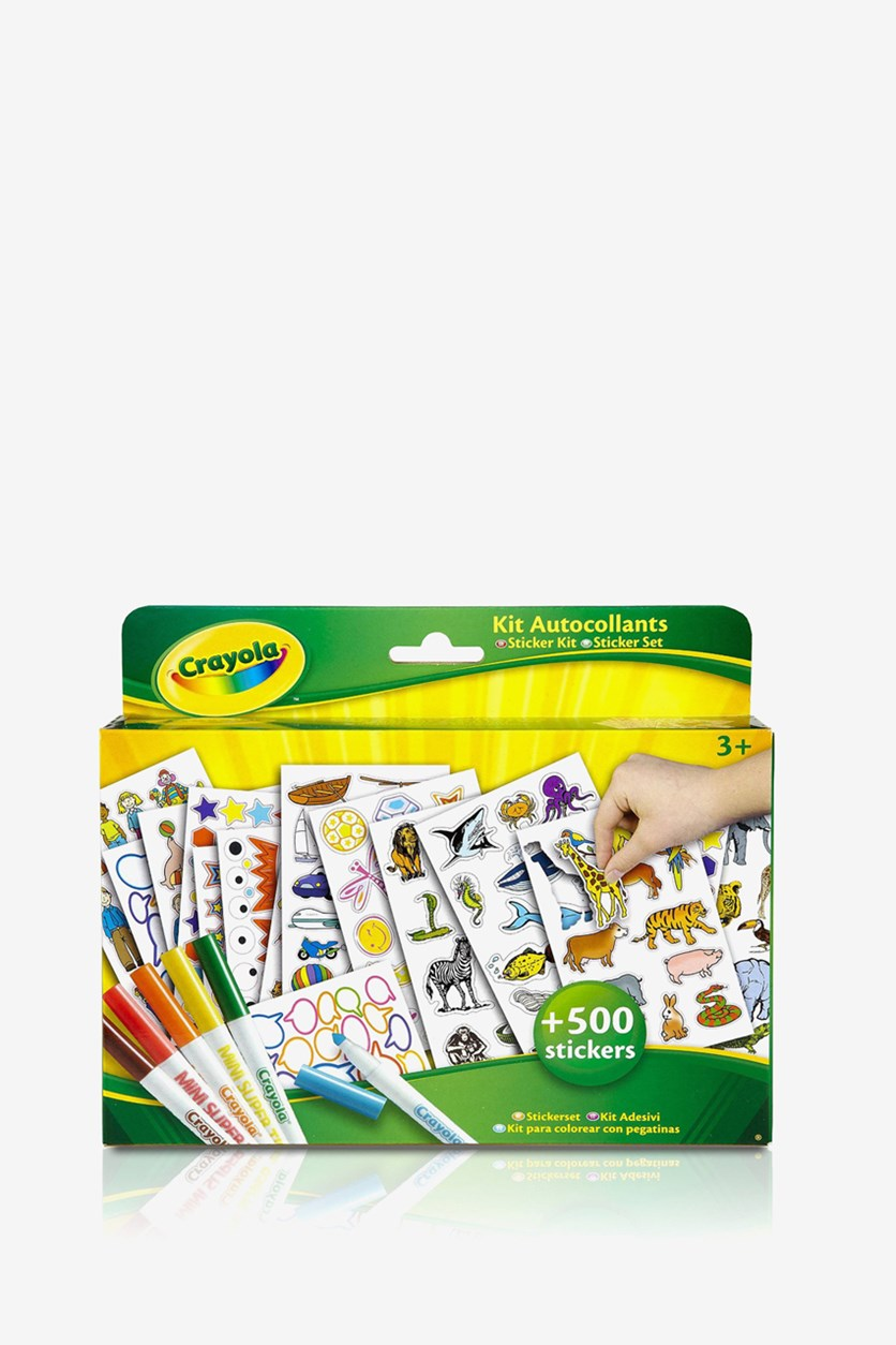 Coloring & Stickers Kit, Yellow/Green