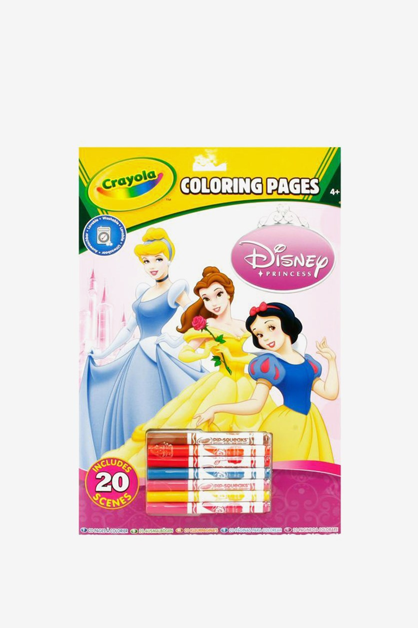 Princess 20 Pages Coloring Book and Pencils, Green/Pink Combo