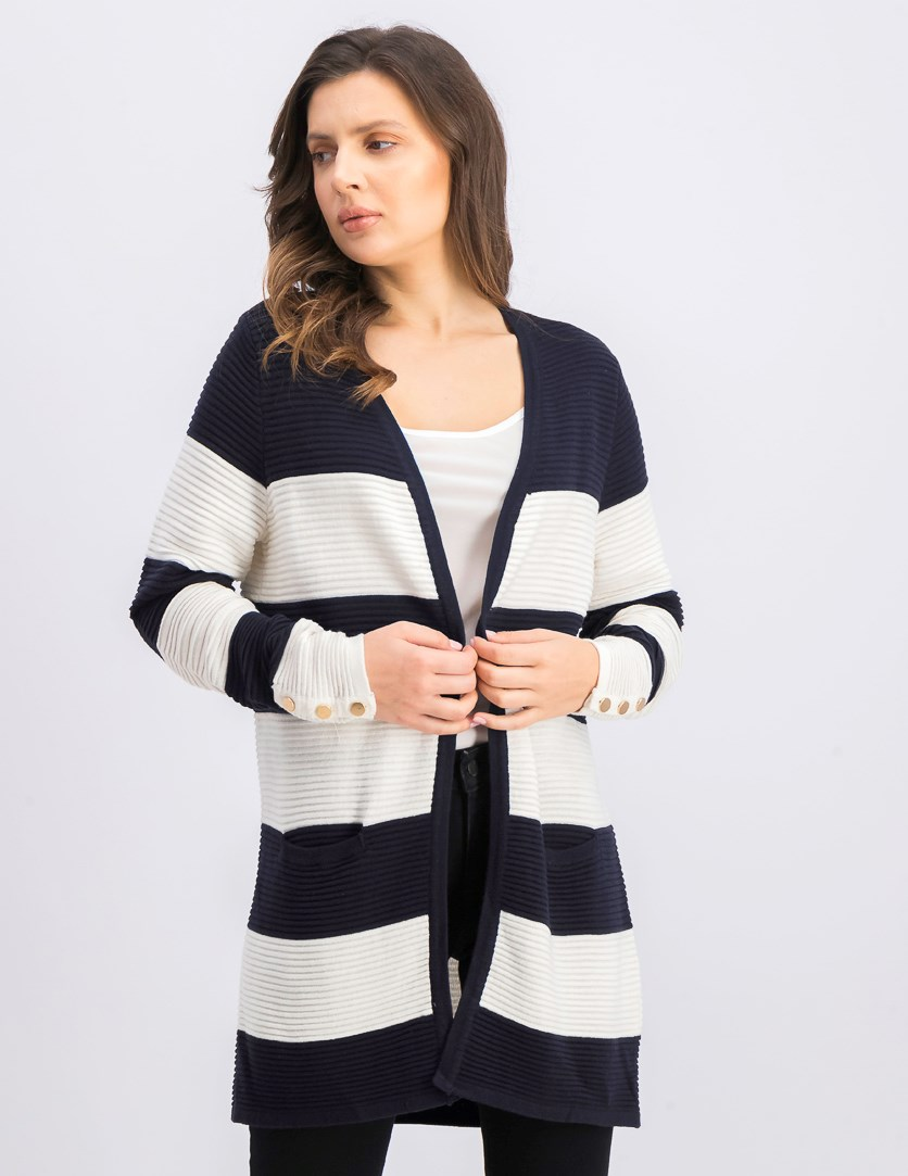 Women's Long Sleeve Striped Cardigan, Navy/White
