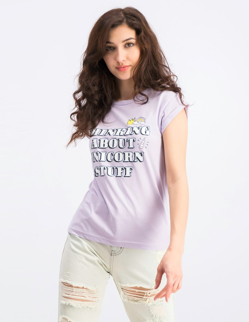 Women's Graphic Print Top, Light Purple