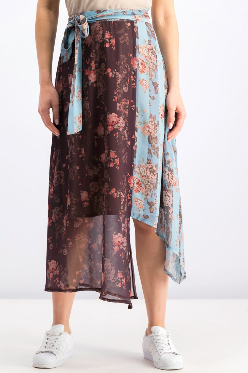 Women's Printed Midi Skirt, Brown/Light Blue