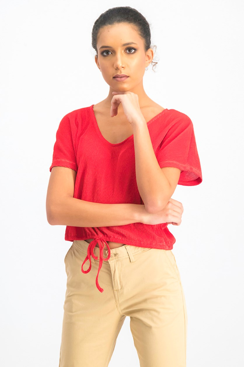 Womens Textured Top, Red