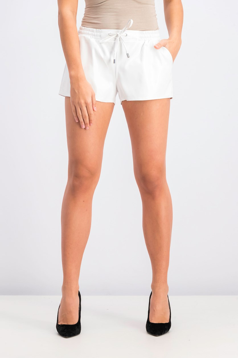 Women's Leather Shorts, White