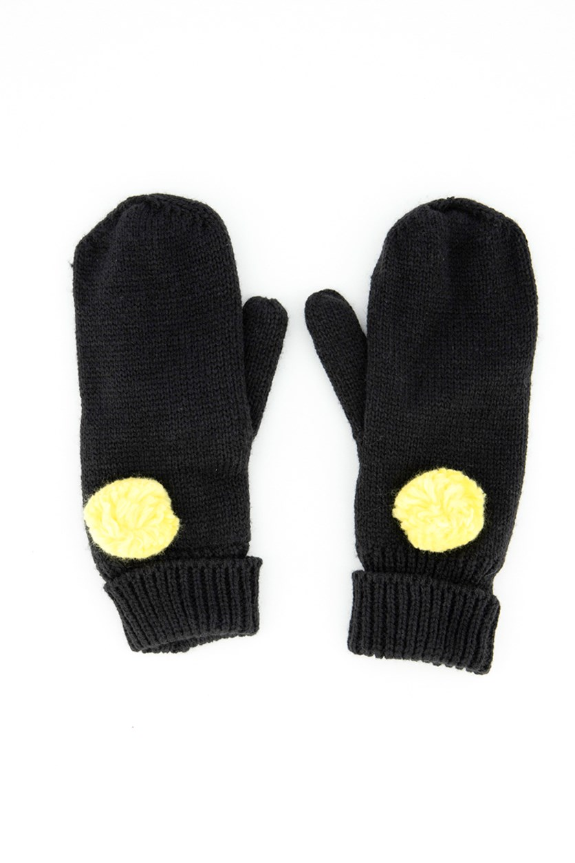 Womens Textured Gloves, Black/Yellow