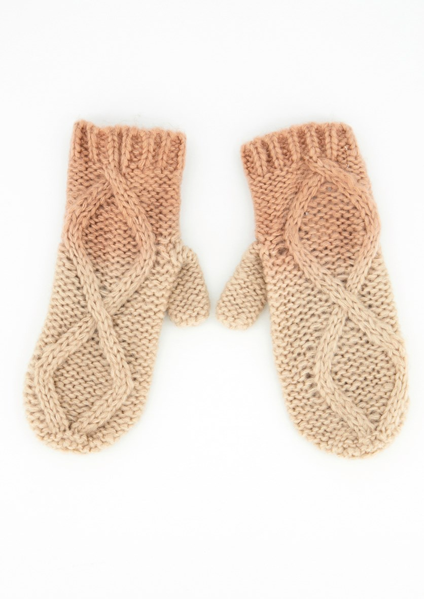 Womens Textured Ombre Gloves, Blush/Beige