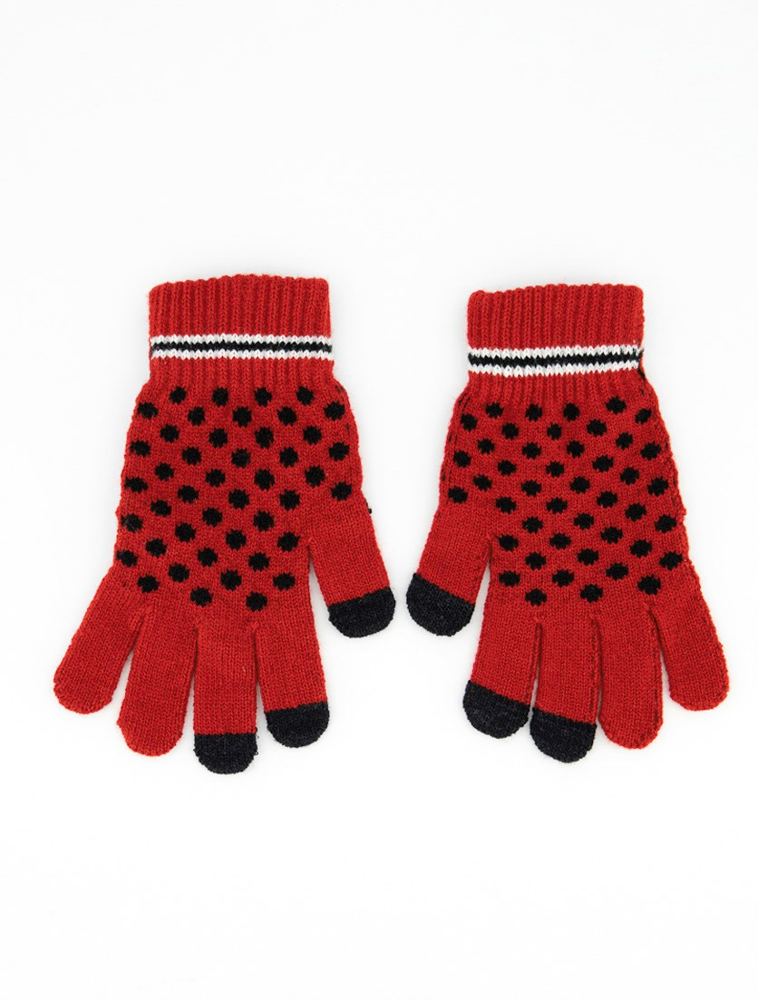 Womens Polka Dot Gloves, Red/Black