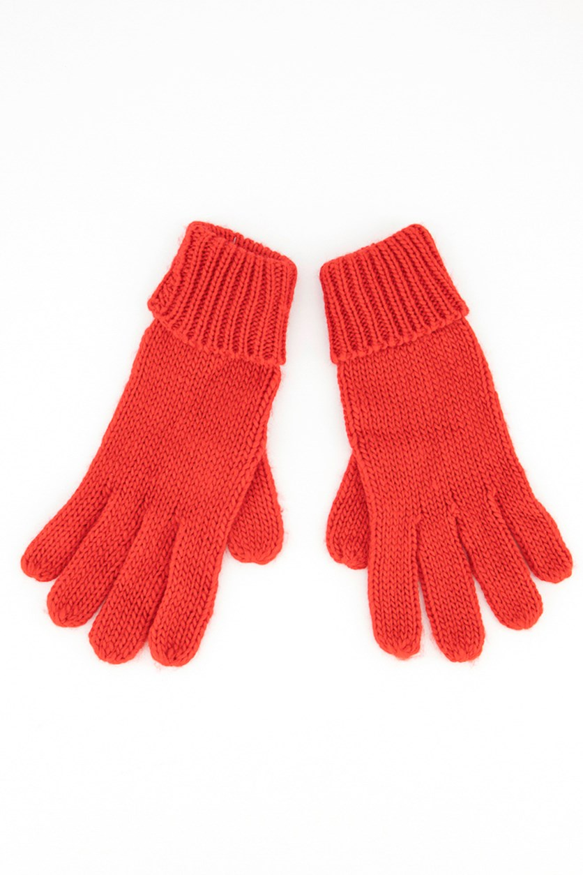 Womens Textured Gloves, Red