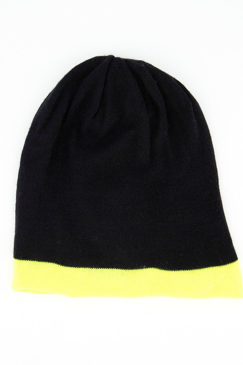 Women's Knitted Beanie, Black/Lime Green
