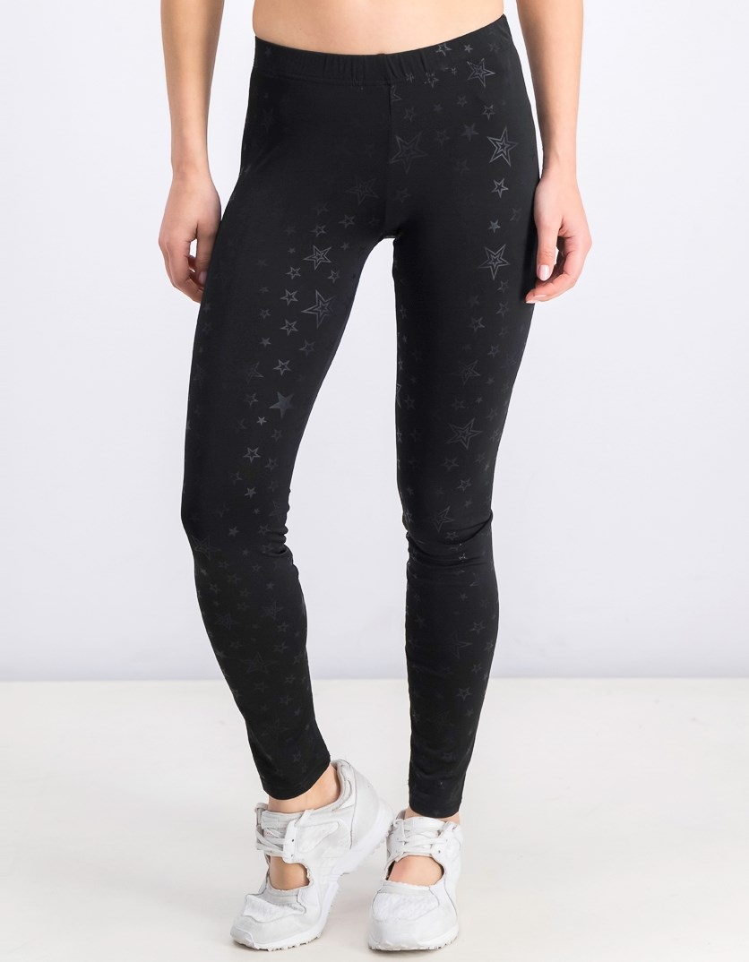 Women's Printed Star Leggings, Black
