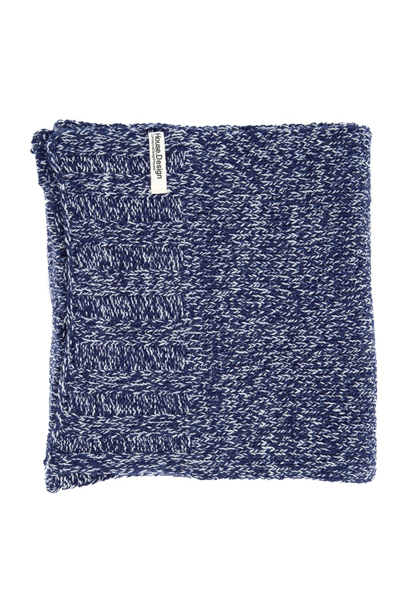Men`s Herringbone Muffler, Navy/White