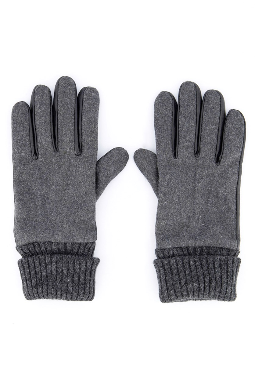 Men's Knit Leather Gloves, Black/Gray