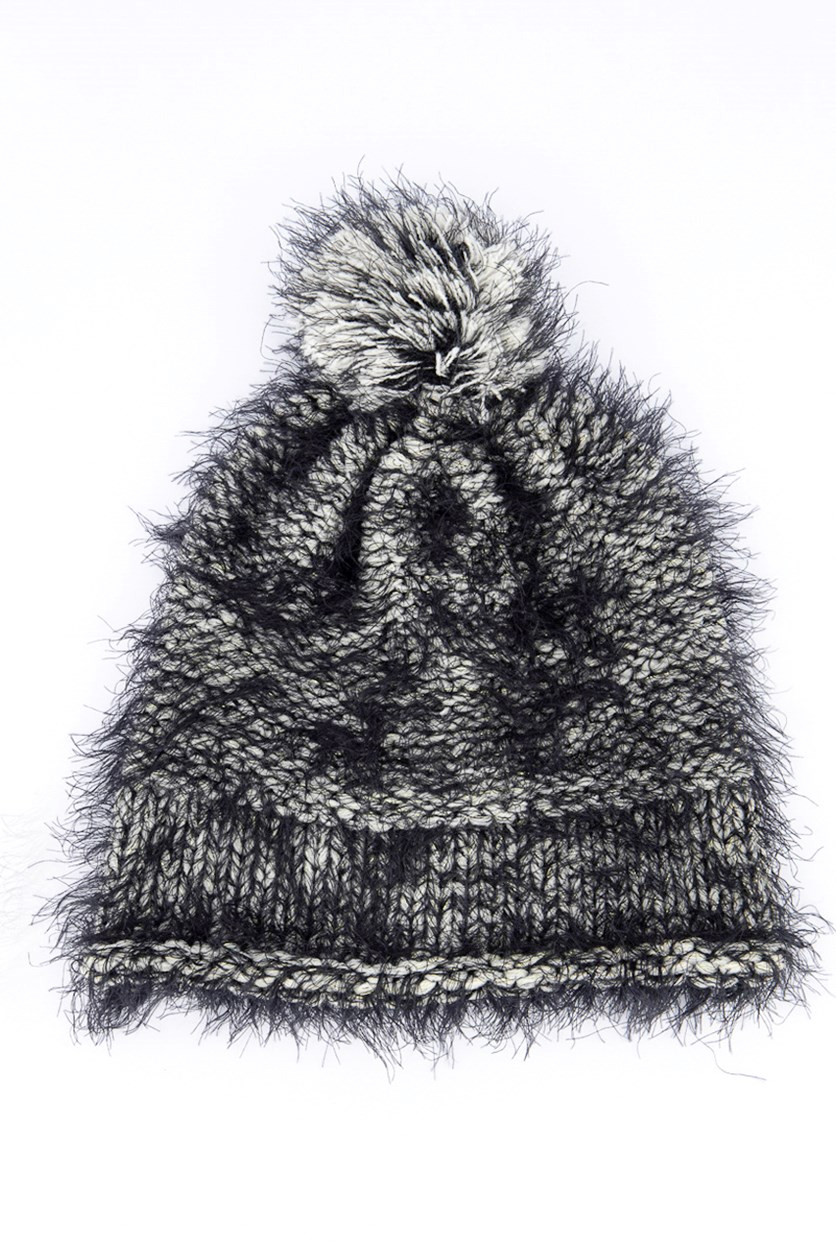 Women's Pompom Beanie, Black/White
