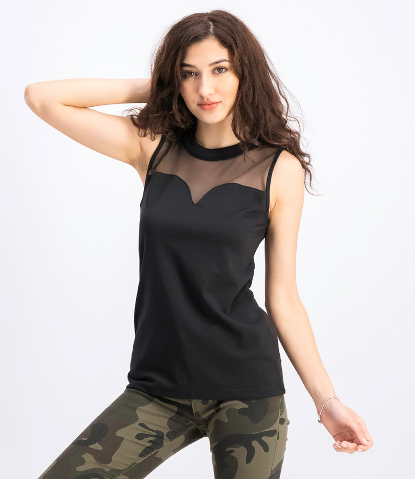 Women's Sleeveless Plain Top, Black