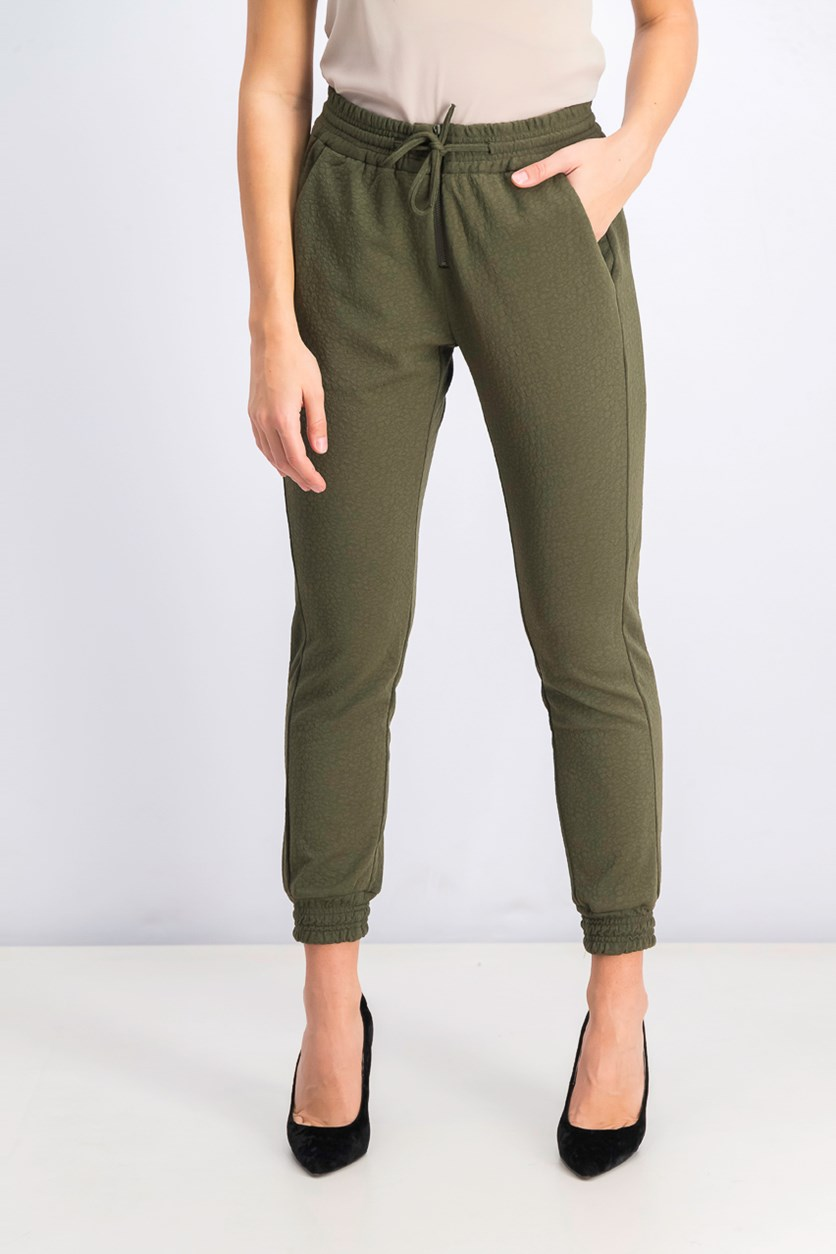 Women's Drawstring Textured Pants, Olive Green