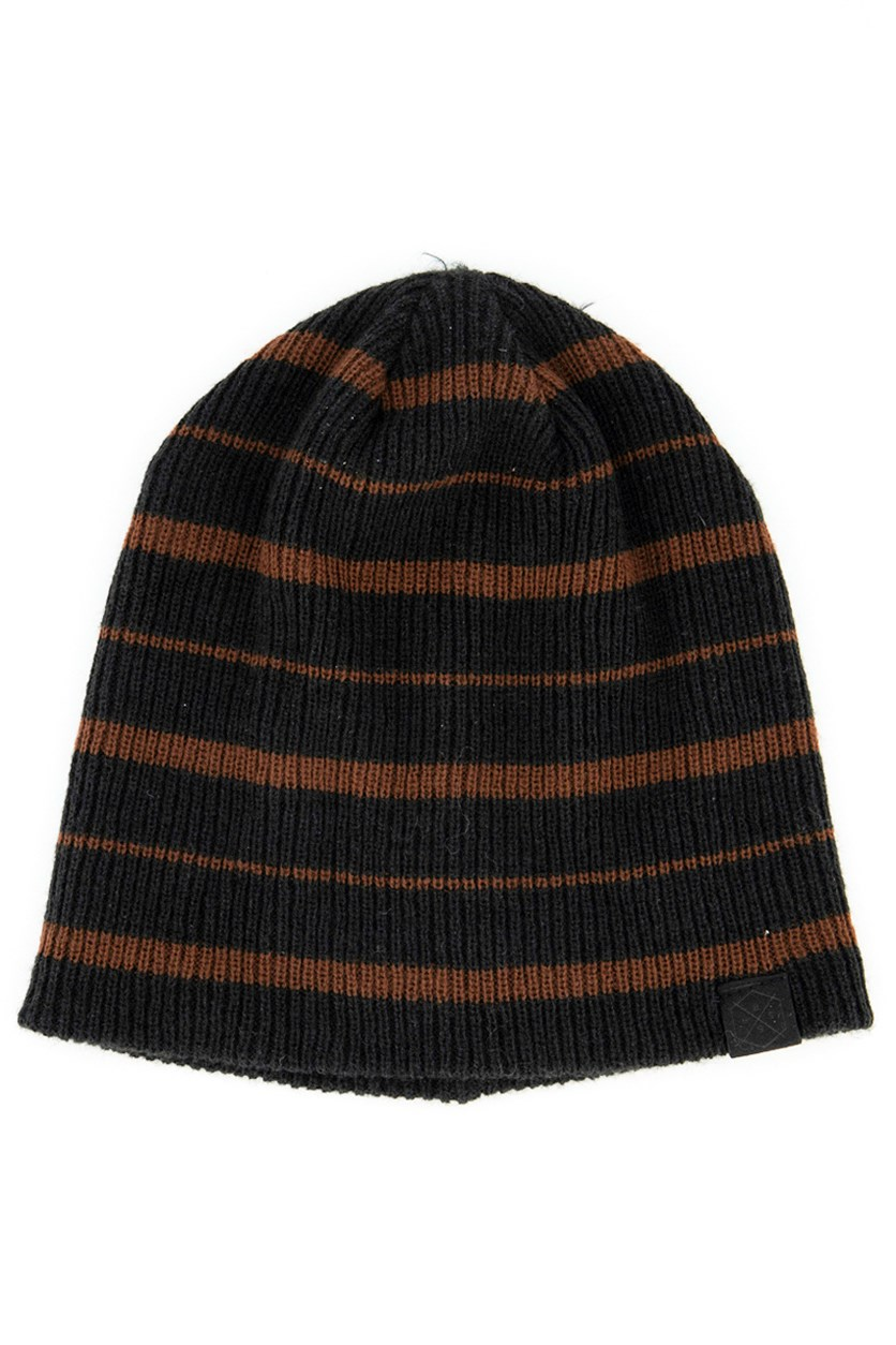 Men's Stripe Beanie, Black/Brown