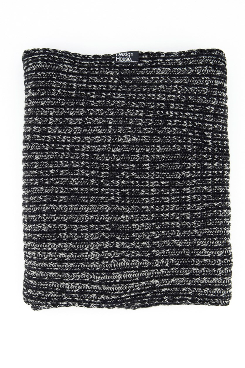 Mens Textured Scarf, Black/Grey