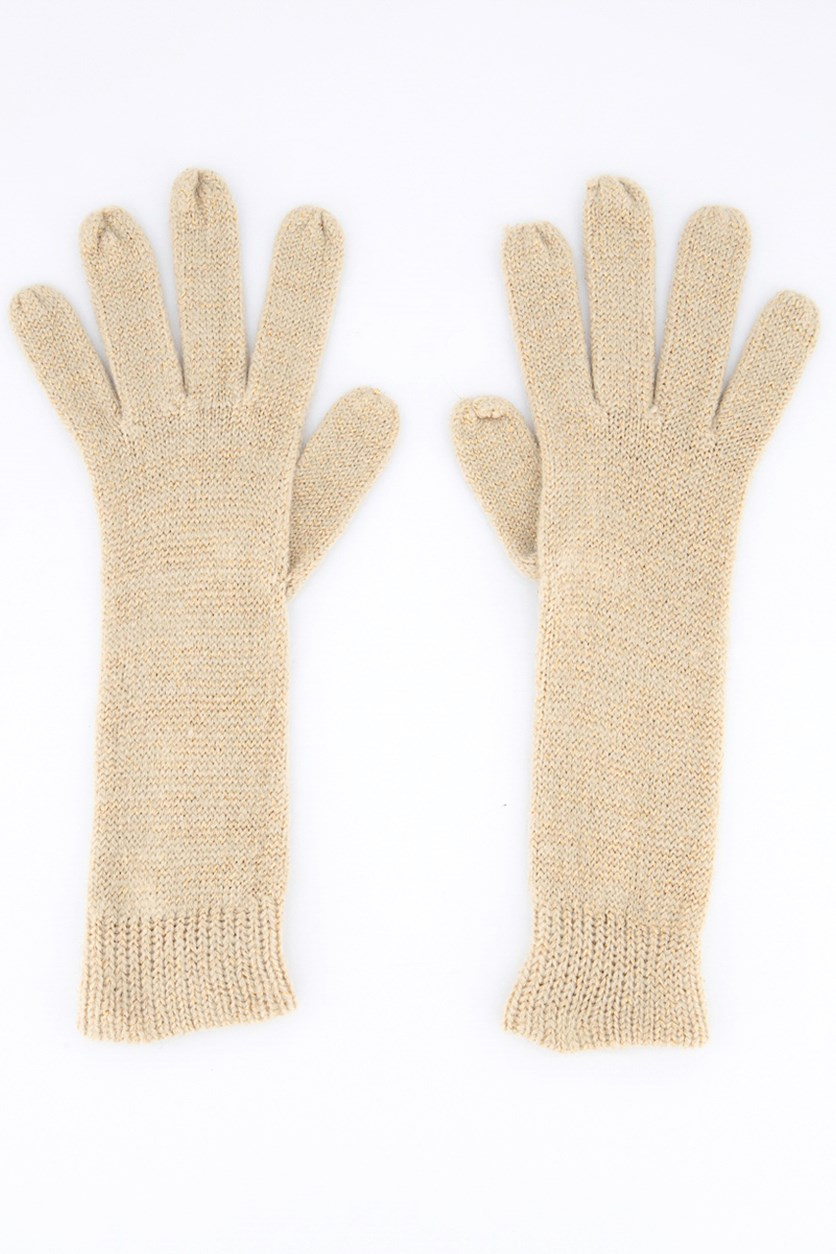 Women's Metallic Gloves, Beige