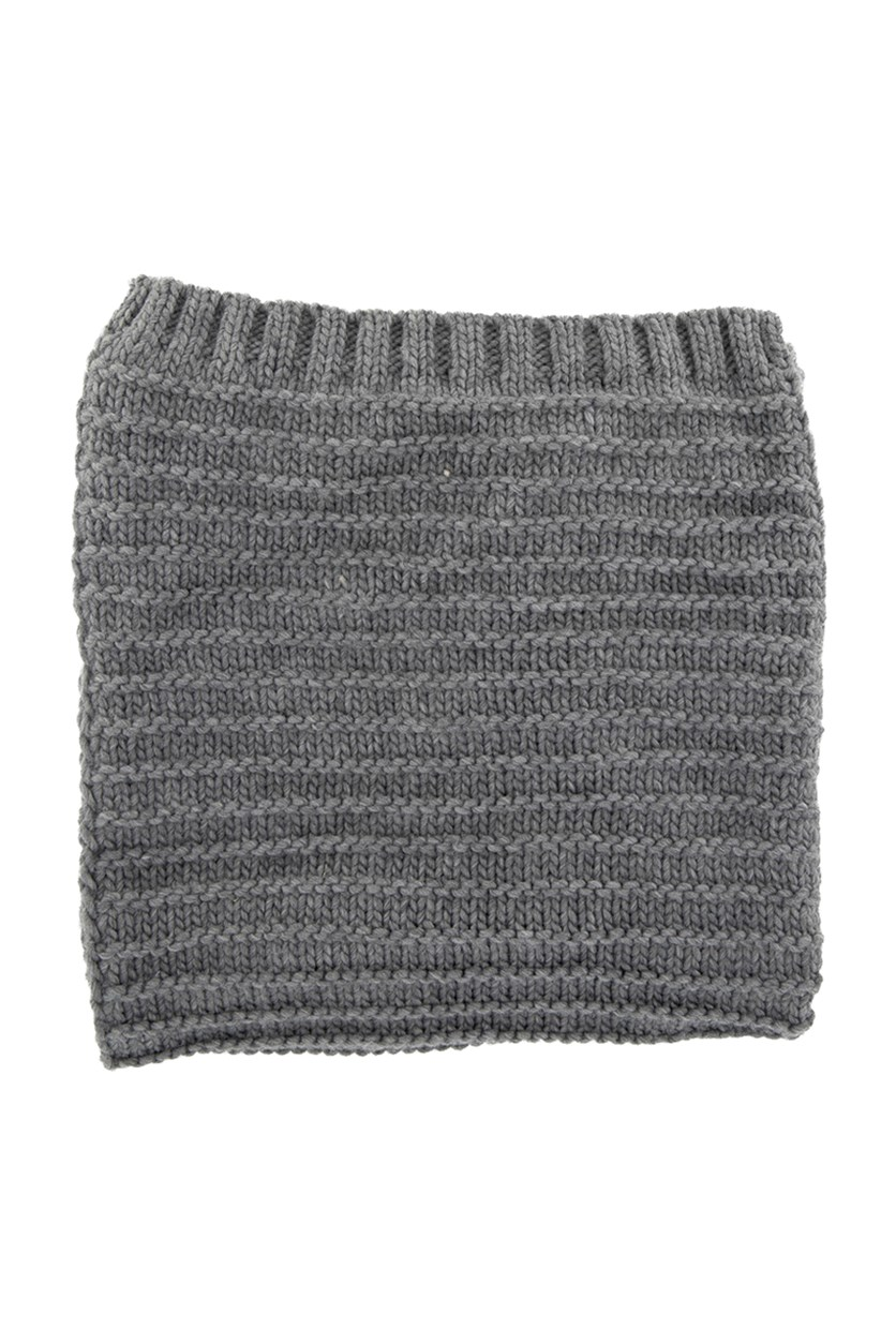 Women's Textured Knit Scarf, Grey