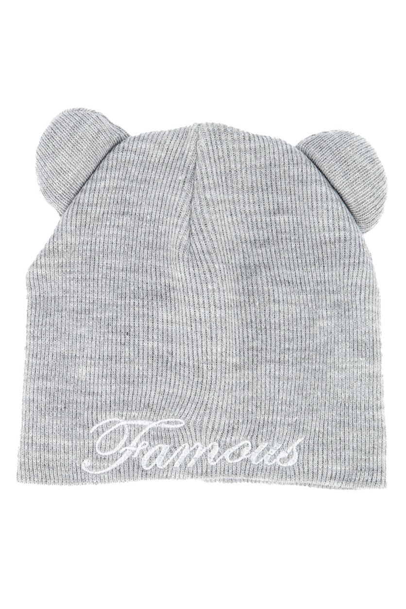 Women's Knitted Beanie With Ears, Gray