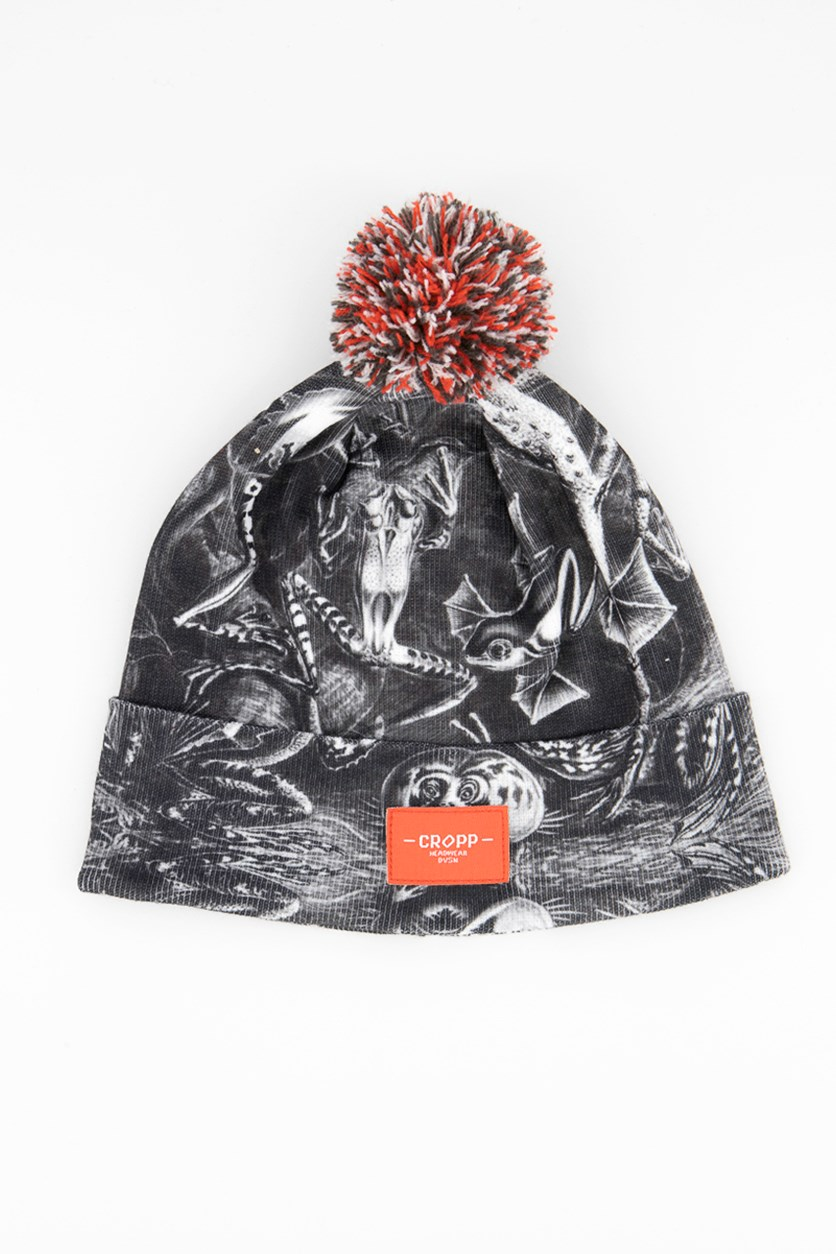 Men's Allover Printed Beanie, Charcoal