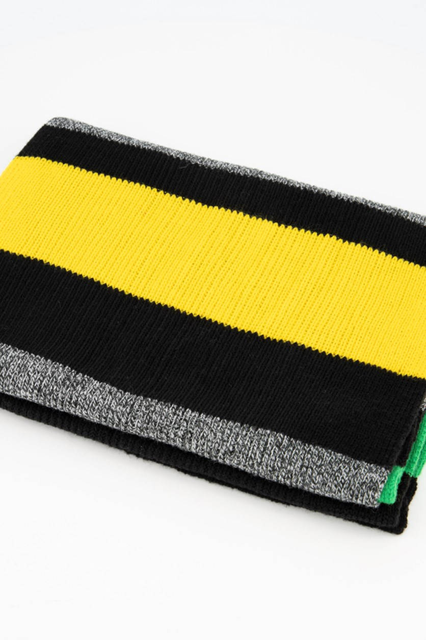 Mens Textured Scarf, Black/Grey/Red/Green/Yellow
