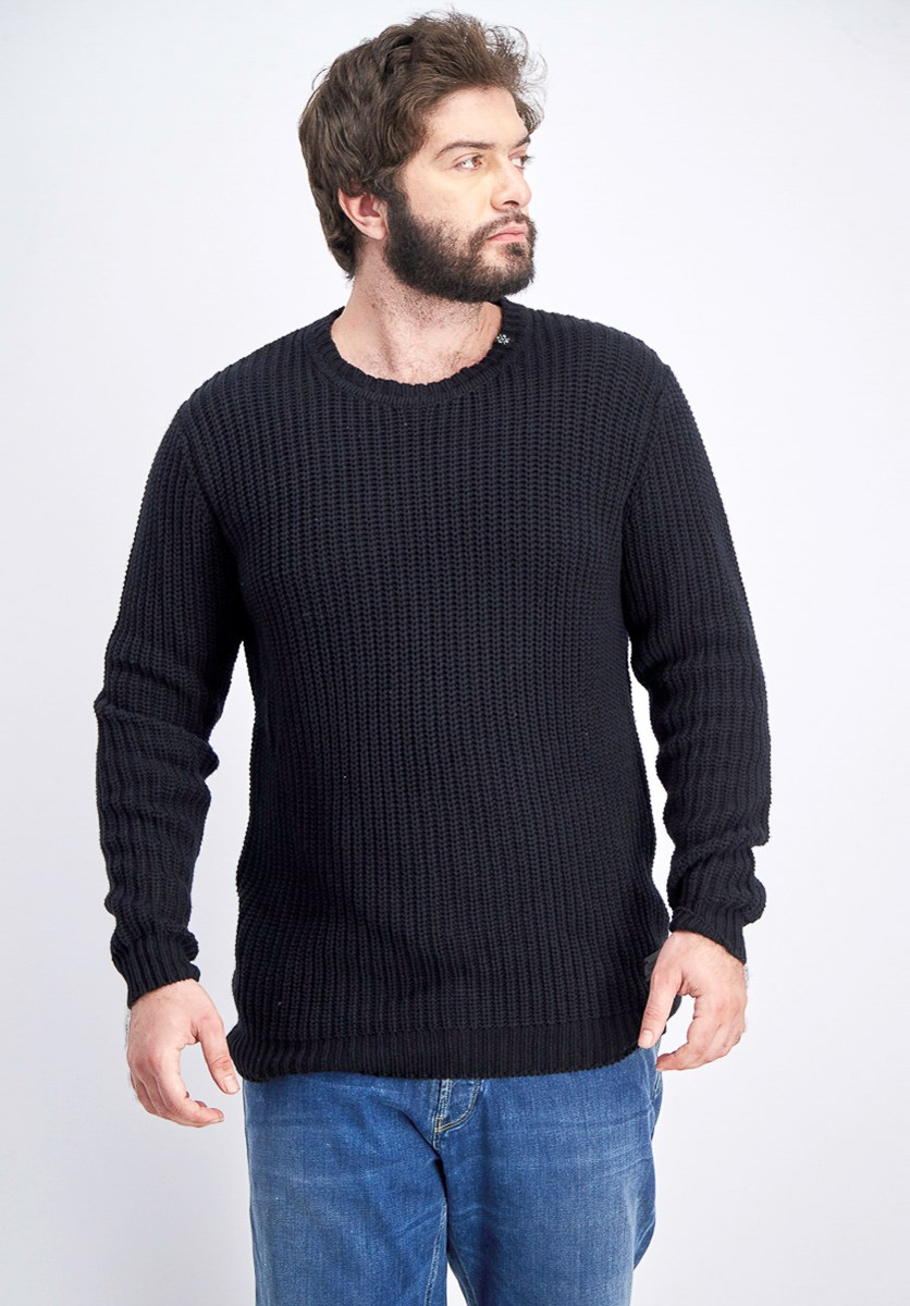 Men's Knitted Sweater, Black