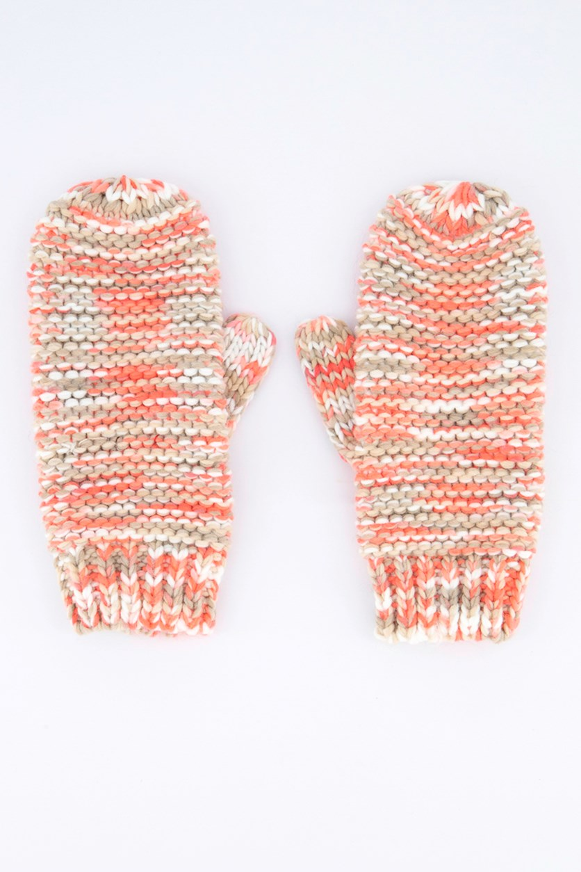 Women's Knitted Gloves, Neon Pink Combo