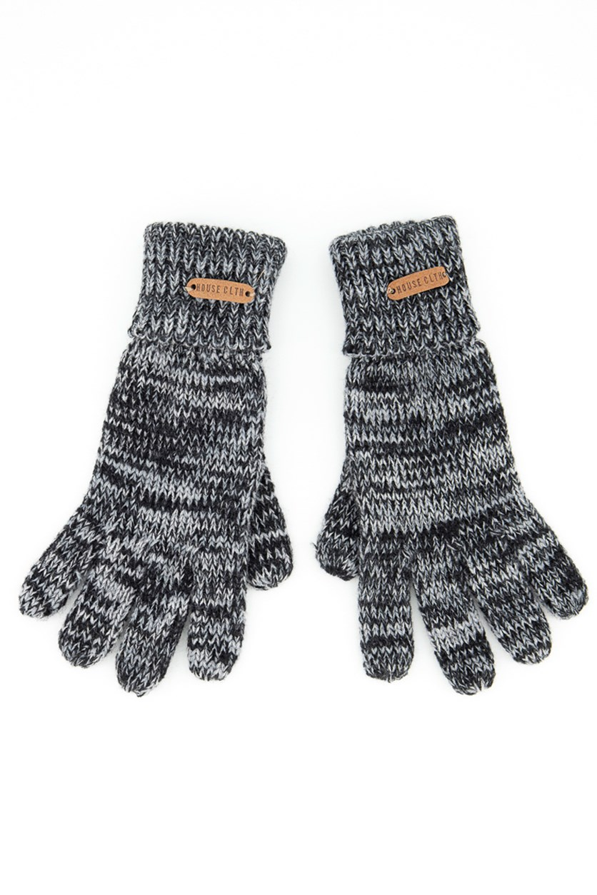 Men's Knitted Gloves, Grey/Black