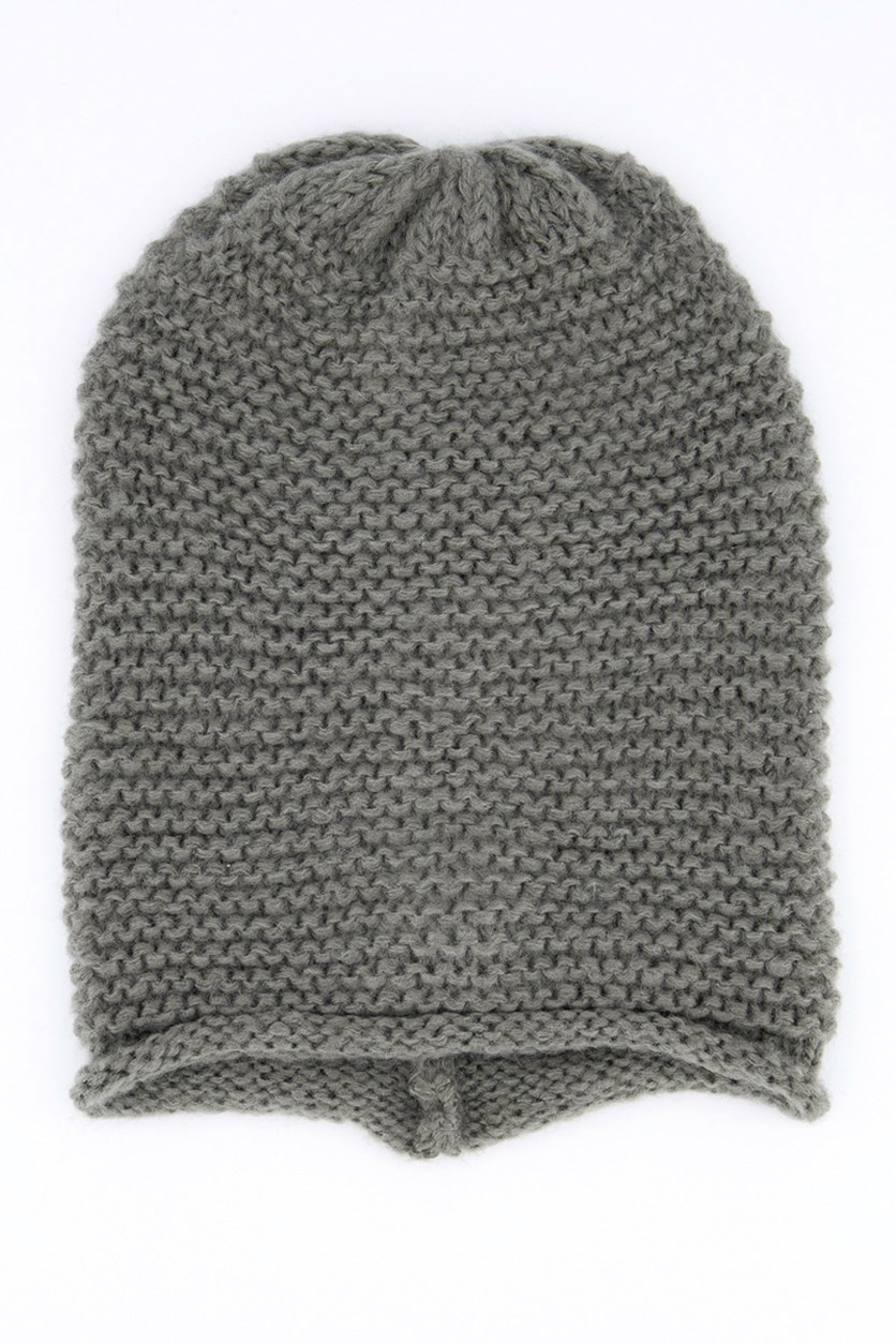 Women's Knitted Textured Cap, Dark Grey