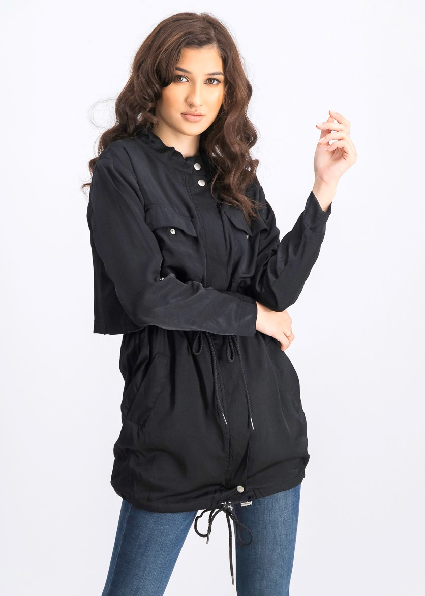Women's Drawstring Waist Jacket, Black
