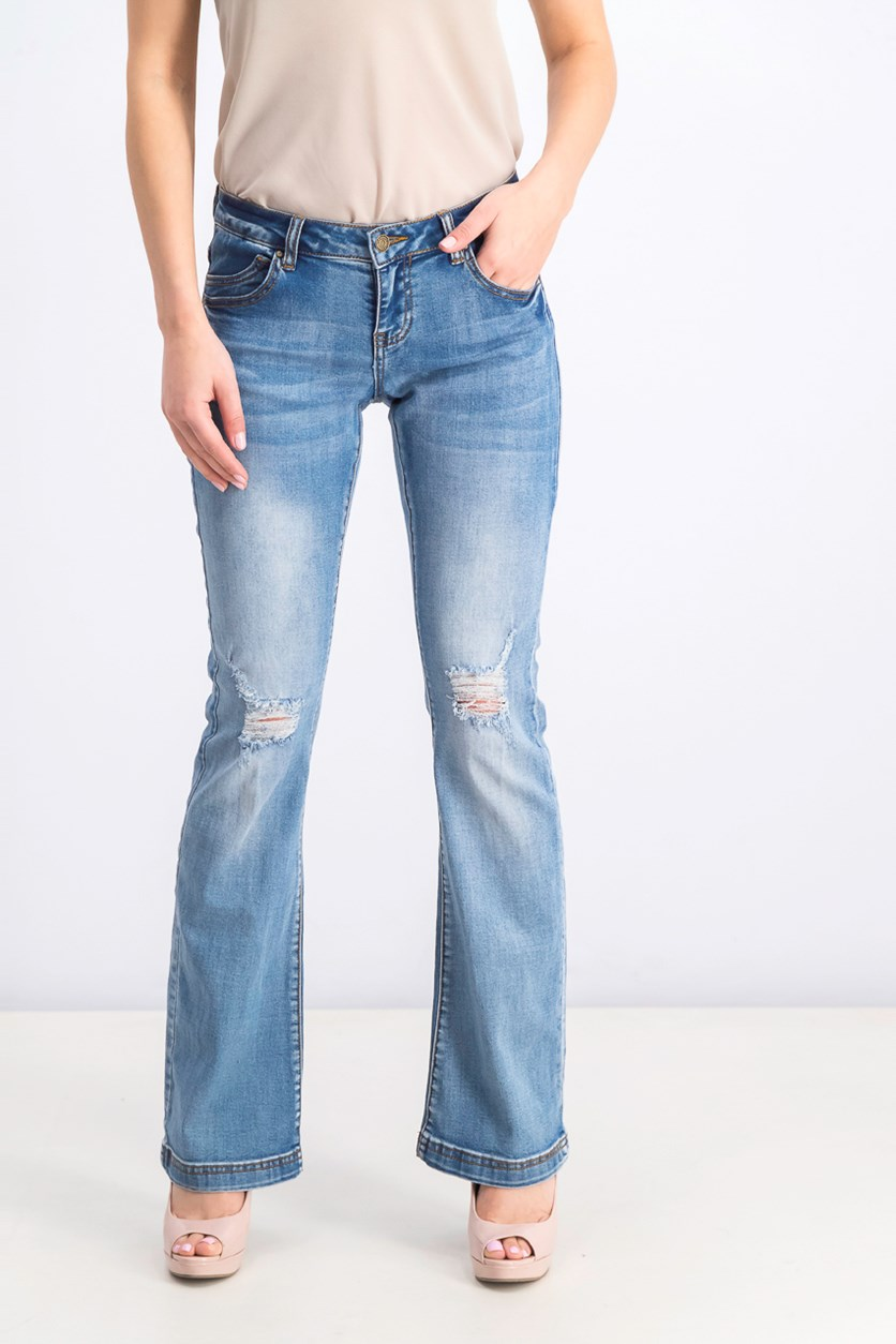 Women's Rip Jeans, Wash Blue