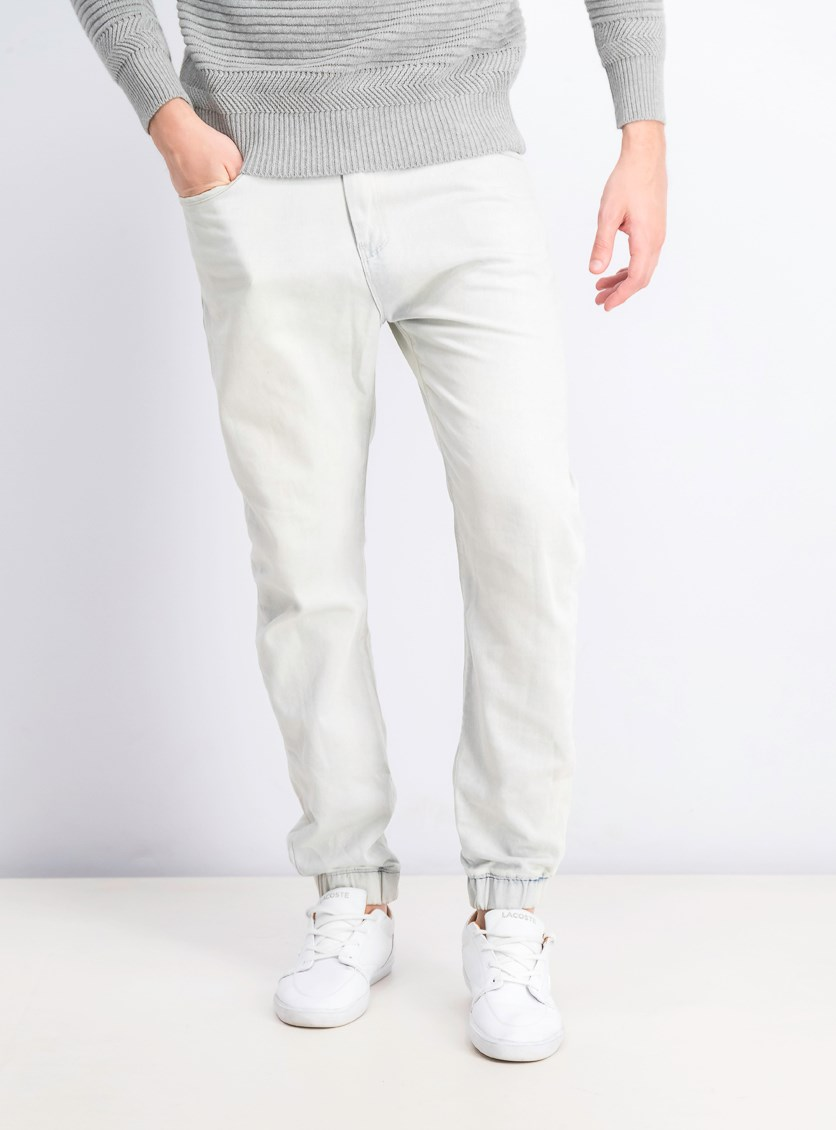 Mens' Five Pocket Drawstring Jeans, Off White/Blue