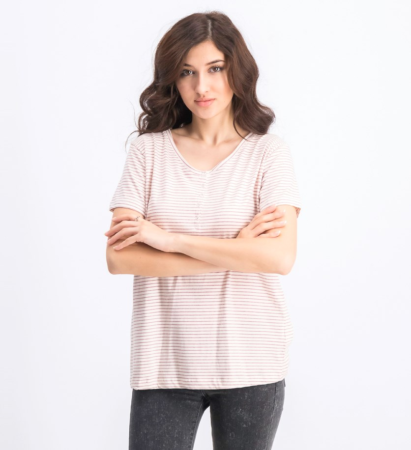 Women's Stripe Blouse, Cream/Mauve
