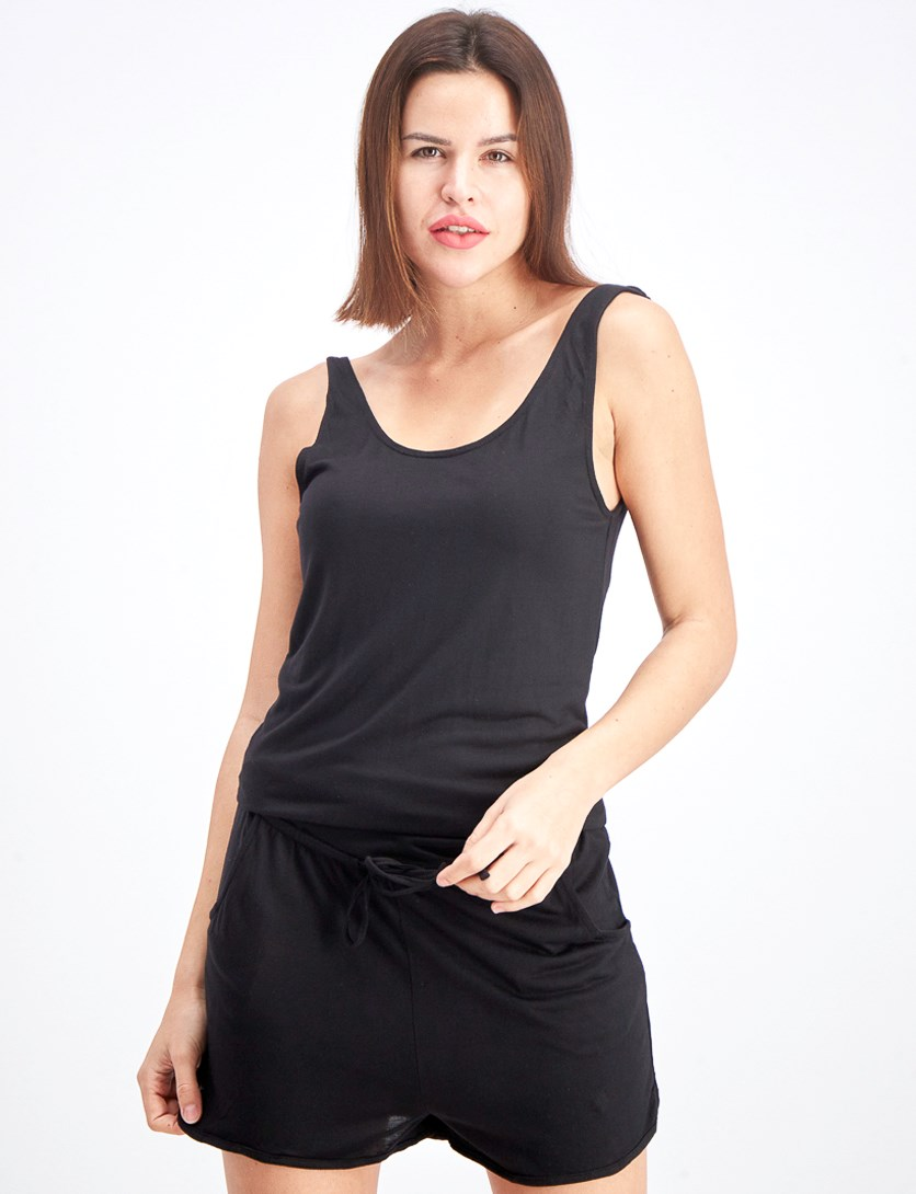 Women's Scoop Neckline Romper, Black