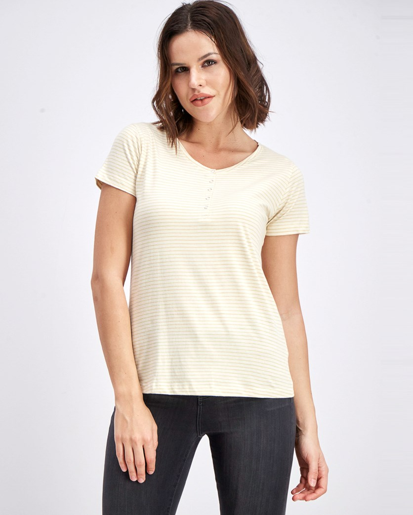 Women's Stripe Blouse, Cream
