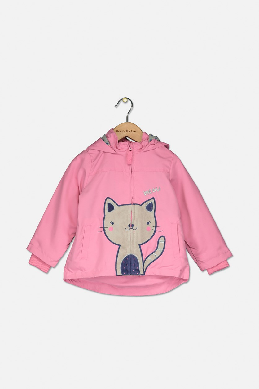 Little Girls Graphic Hoodie Jacket, Pink